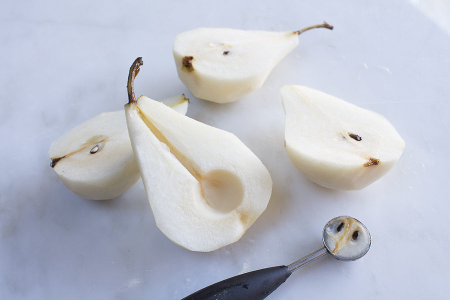 Firm,  but ripe Bosc Pears - remove the pits with a melon baller