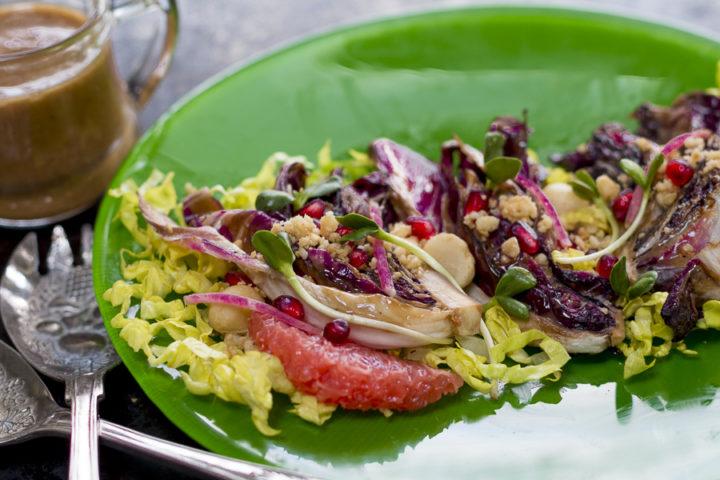 Winter Salad with Grilled Radicchio and Pomegranate-Macadamia Vinaigrette