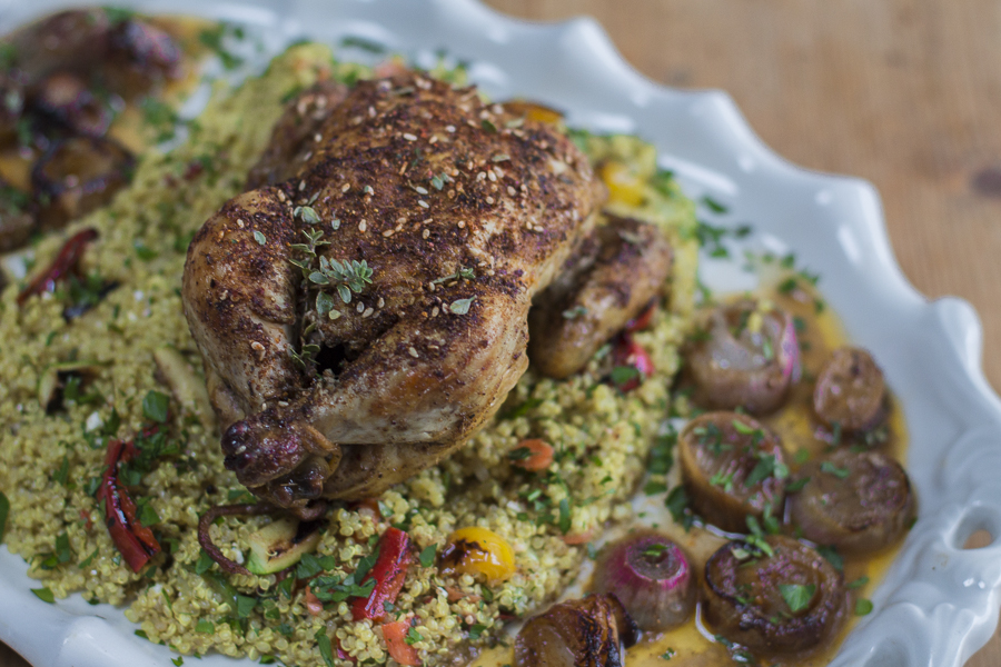 Roast Za Atar Capons With Za Atar Seasoning Blend