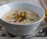 Baked Potato Soup with Potato Skin Croutons