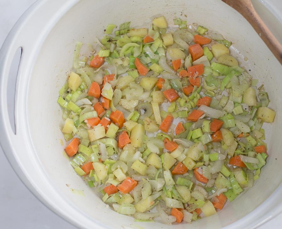 Sautéed vegetables first: carrots, celery, leeks and garlic