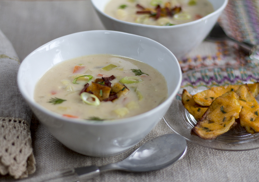 Baked Potato Soup with Potato Skin Croutons