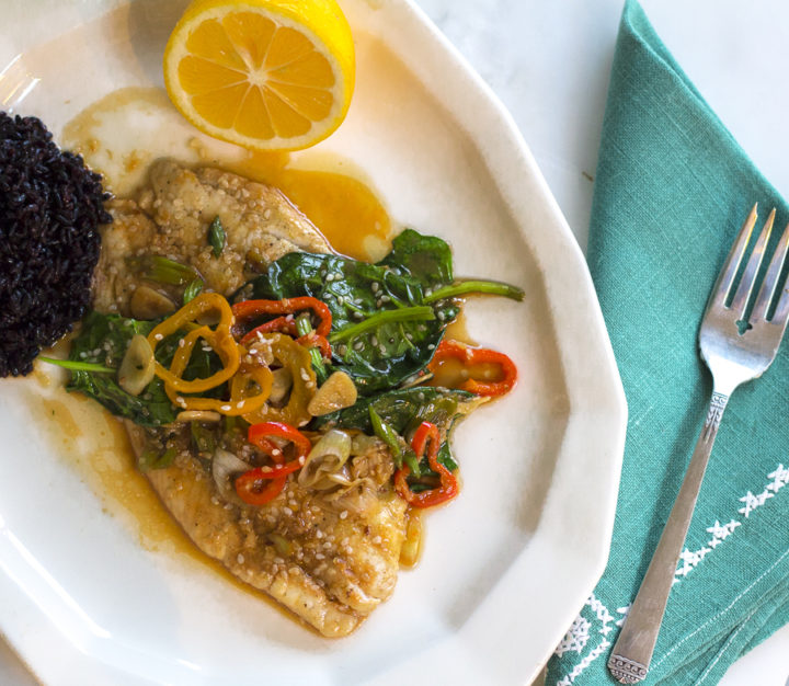Sizzling Flounder with Soy, Lemon and Sesame