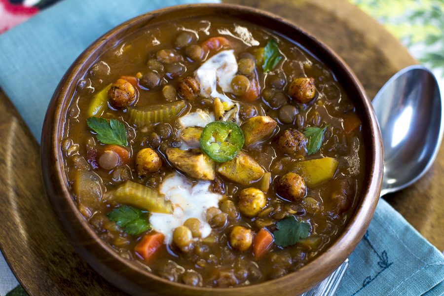Cuban Style Lentil Soup with Baked Plantains and Lemon Crema