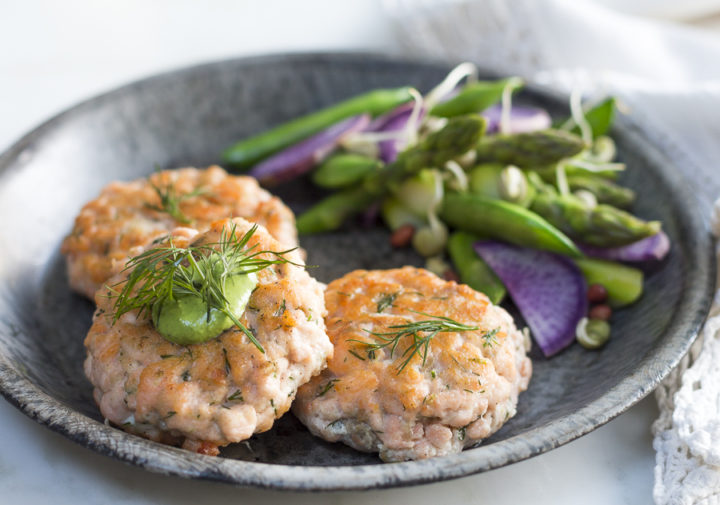 Natural Salmon Cakes with Spring Vegetables and Green Goddess Dressing