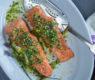 Planked Salmon with Pistachio-Tarragon & Lavender Gremolata