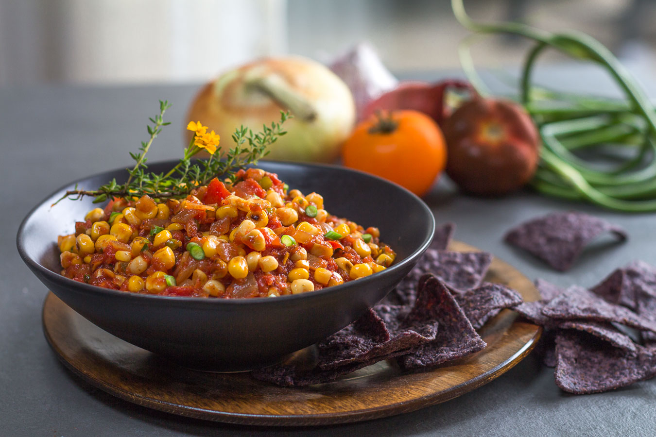 Fresh Corn And Roasted Tomato Salsa