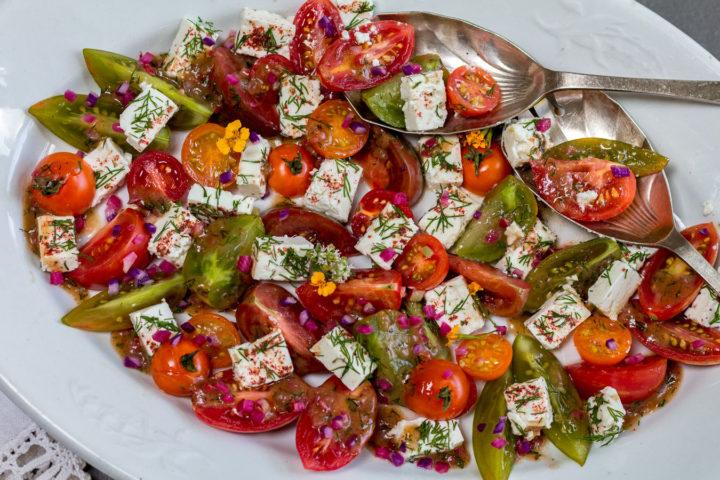 Simple Tomato & Feta Salad with Dill and Radish Vinaigrette