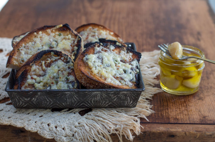 Garlic Cheesy Toast with Garlic Confit (Slow-Cooked Cloves in Oil)