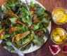 Fall Salad with Pears, Pomegranate Seeds and Zesty Garlic Confit Vinaigrette