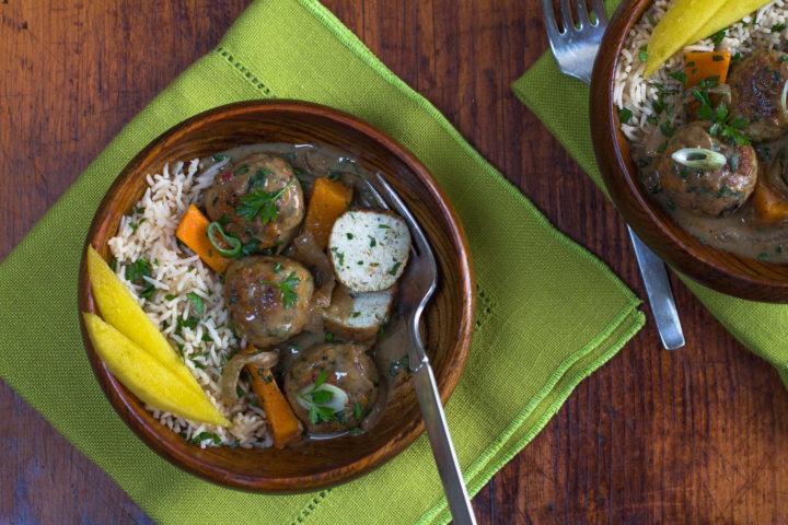 Spiced Caribbean Chicken Meatballs in Coconut Milk Gravy