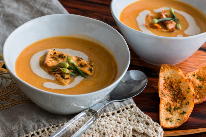 Celery Root Bisque Soup with Garlic Pita Croutons