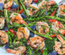 "Shrimp with Charred Brocollini and Shiitake ""Bacon"" – Browned Butter Balsamic Drizzle"
