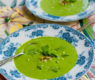 Spring Minty Pea Soup with Scallion Kimchee