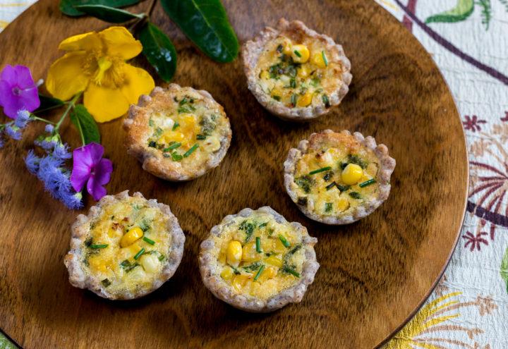 Bite Sized Corn & Chive Quiche with Blue Corn Crust