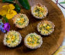 Bite Sized Corn & Chive Quiche with Blue Corn Crust