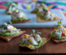Crab Tostadas Bites ~  a tasty pick up appetizer with a zesty avocado layer