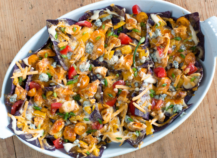 Grilled Chicken Buffalo Nachos (Vegetarian version too) – The Perfect Game Day Dish