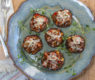 Shiitake Stuffed Mushrooms with Tomatillo Salsa Topping