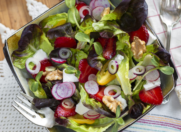 Seven Terrific Strawberry Recipes! And New: Summer Strawberry Salad with Walnuts, Feta and Maple-Walnut Vinaigrette