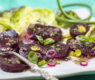 Steamed Baby Beets with  Garlic Scape Vinaigrette