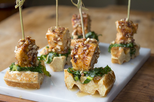 Chicken and Waffle Appetizer with Sautéed Collards and Maple-Bourbon ...